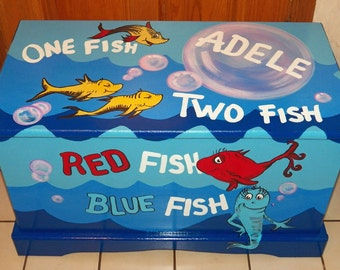 Custom Inspired Dr. Seuss Toy Box Personalized with Name on top