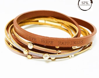 Hope love happinesd wrapped leather bracelet