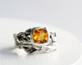 Citrine Engagement Ring Set,Leaf Twig Sterling Silver Ring Set,Tree Nature Fine Jewelry