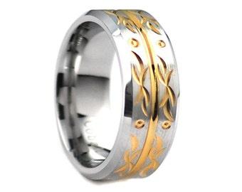 Cobalt Wedding Band,Flower Ring,Gold,Beveled Edges,Satin Polish,Engagement Ring,Anniversary Ring,9mm,Flower Design,Flower Band