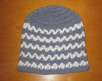 Child's Grey and White Striped Hat