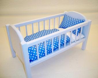 Doll Crib Wood Doll Crib,Wood Doll Bed,  American Doll Bed, Girls Toy ,18inch Doll Bed, Baby Doll Crib, Baby Doll Bed