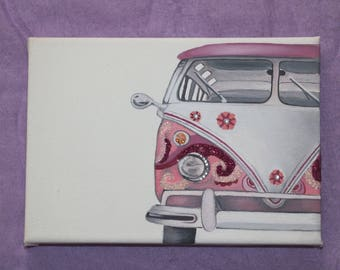 Pink Campervan oil on canvas