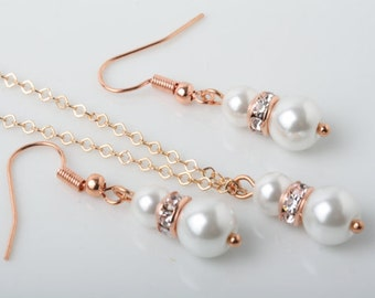 Rose Gold and Pearl Bridesmaid jewelry set, Bridesmaid gift, white pearl earrings and necklace set, wedding jewelry, rose gold jewelry set