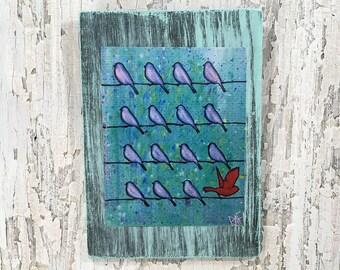 Be Different Little Birds Wall Art by Artist Rafi Perez Fine Art Signed Print On Wood