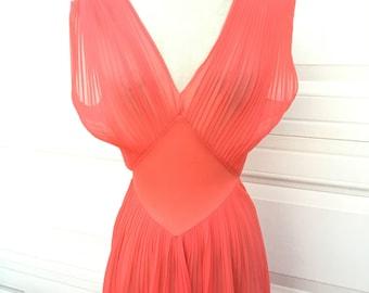 Vintage 1960s pleaded salmon sheer low cut awxy slip lingerie dress size S