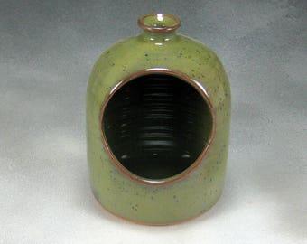 Green Salt Pig or Salt Cellar Stoneware Hand Thrown Pottery 2