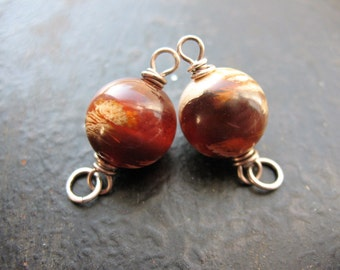 Sumatra Amber Bead Connectors in Sterling Silver - 1 pair - 12mm Rounds 20mm Connectors