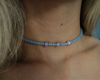 Beaded blue and purple choker