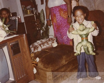 vintage photo 1970s Little Boy African American Bell Bottoms Incredible Hulk Toy