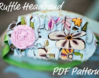 Ruffle Headband Pattern INSTANT DOWNLOAD- How To PDF Includes bonus Rosette Flower