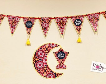 Ramadan Banner with yellow tassels, 12 pennant, Crescent and lantern, Egyptian tent pattern.