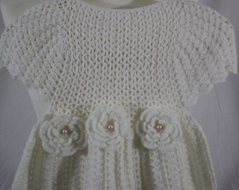 Hand Crocheted Christening Gown Dress, Size 6-12 months