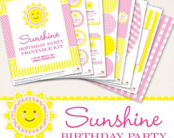 Sunshine birthday party printables collection - Over 45 pages of sweet and sunny designs for your party decor