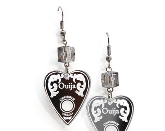 Silver Ouija Planchette Dangle Earrings with Gray Cube Beads
