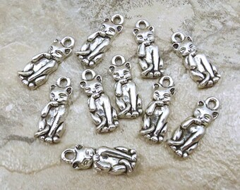 Set of Ten (10) Pewter Fastidious Cat Charms - 5173