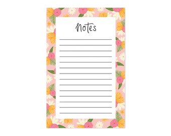 Cute Illustrated Notepad - Floral Notes