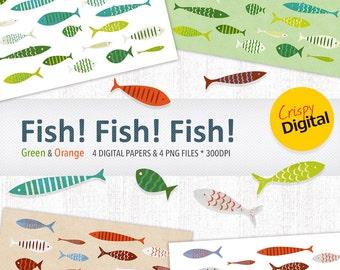 Fish Digital Papers Cute Fish Printables Green and Orange 8pcs 300dpi Instant Download Scrapbooking Printable Paper