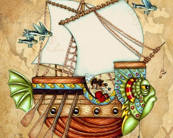 Fantasy Fish Boat Canvas Print Wall Décor. Original 11 x 14 Illustrated steampunk character ship art poster, wall décor for home or boat.
