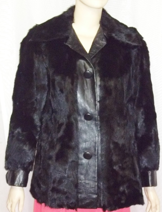Genuine Coat Small Medium Vintage Womens BOHO Broadtail Leather Jacket Fur Lamb Fur aw0YBqwP