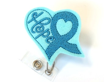 Teal Ribbon - Ovarian Cancer Awareness Badge Reel - Oncology Nurse Badge Holder - Felt Badge Reel - RN Badge Clip - Nurse Gift - BadgeBlooms