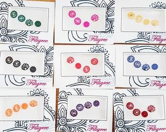 Filigree bindi pack, Filigree, bindis, red bindis, pink bindis, beautifulbindis, Indian outfit, jewellery,velvet bindi