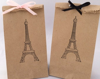 Paris Treat Bags: 10+ Eiffel Tower Kraft Paper Favor Bags, Paris Gift Bag