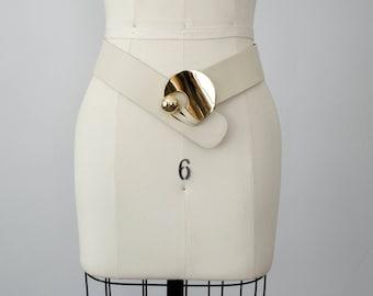 vintage leather belt / cream leather hip belt / statement belt / Abbé / small