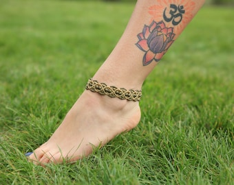 Ankle bracelet, macrame and brass