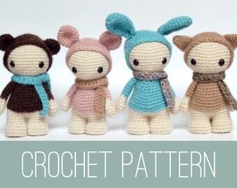Amigurumi doll crochet PATTERN, crochet dolls pattern, amigurumi PDF pattern, bunny pattern, Instant download