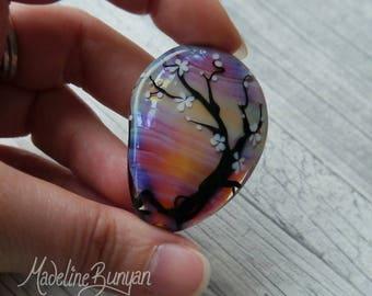 Slight Second Cherry Blossom Tree, Sunset Amber, Pink, purple shimmery, shiny, Lampwork Focal Bead, silhouette, sakura, pendant bead