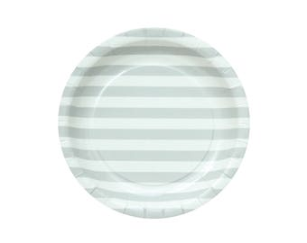 10 Gray Striped Paper Plates Light Gray Paper Plates Grey Baby Shower Plates Gray Baby Plates Grey Party Supplies Plates Cake Paper Plates