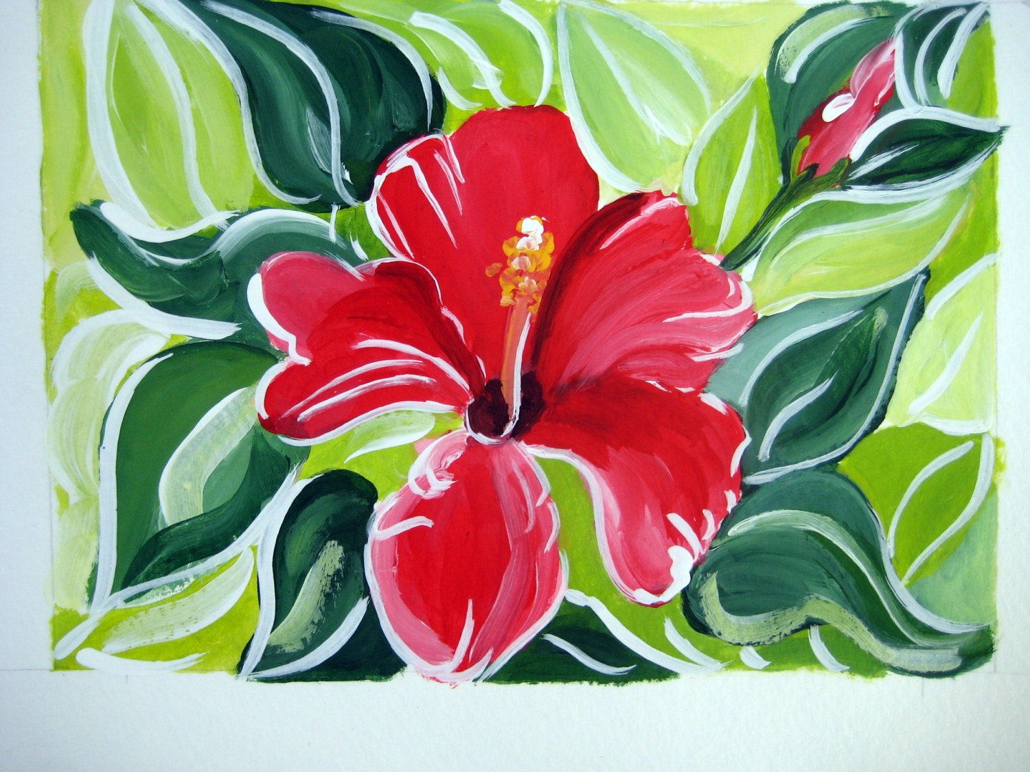 Original acrylic painting of a hibiscus flower titled zoom izmirmasajfo Gallery