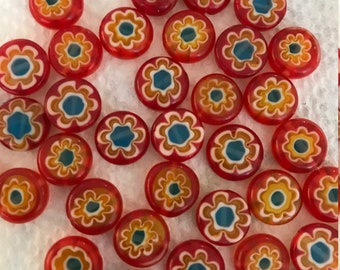 Millefiori Flower Flat Round Glass Beads 20 - 10mm