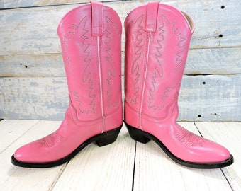 Womens Cowboy Boots Leather Pink Country Western Boots Size  -6 Vintage Footware Shoes Fashion Girls Bubble Gum Pink Cowboy Boots