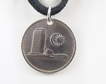 Malaysia Coin Necklace, 10 Sen Coin, Leather Cord, Mens Necklace, Womens Necklace, Birth Year, 1967