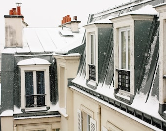 Snow covered rooftops in Montmartre,blue and grey, winter photography, Paris in the snow, Christmas in Paris, France, Paris Photography