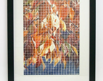 Watercolor Mosaic Painting-  Original Leaves Painting- Cut Into Squares- 12x16- Matted, Framed- 18x22- Vertical