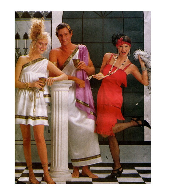 GREEK TOGA COSTUME u0026 Flapper Girl Pattern Adult Easy to Sew Halloween Costumes Size Xs - Xl Butterick 4199 UNCuT Mens Womens Sewing Patterns from ...  sc 1 st  Etsy Studio & GREEK TOGA COSTUME u0026 Flapper Girl Pattern Adult Easy to Sew ...