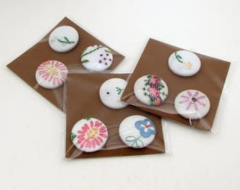 Magnet Gift Set - 3 vintage embroidery magnets - seamstress gift - fridge magnet set - shabby magnets - office magnets - hostess gift