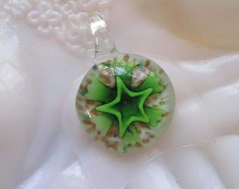 Pretty Green Flower Lampwork Pendant