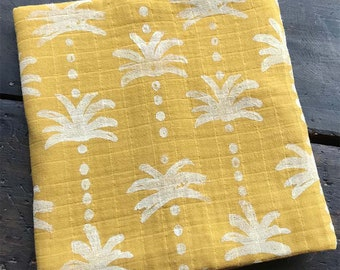 """Hand Block Printed Capri Baby Swaddle Blanket 48"""" x 48"""" MADE TO ORDER"""
