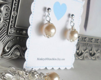 Flower Girl First Communion Confirmation Sterling and Swarovski Pearl Earrings