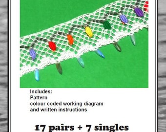 Bobbin lace Fairy Lights length pattern for cards, designed by Jenny Brandis