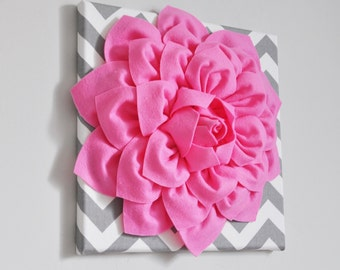 """Bright Pink Wall Flower -Bright Pink Dahlia on Gray and White Chevron 12 x12"""" Canvas Wall Art- Baby Nursery Wall Decor- Pink Home Decor Girl"""