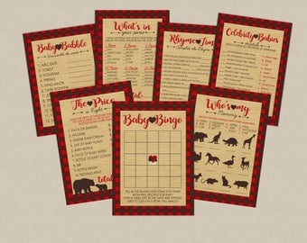 Mama Bear Printable Baby Shower Games Party Pack of 7 With Answer Keys - INSTANT DOWNLOAD -  Northwoods - Lumberjack Baby Shower Games
