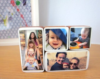 Custom Handmade Baby Photo Wooden Blocks great gift idea for new parents or nursery decor, kids room, 4 Variety Sizes