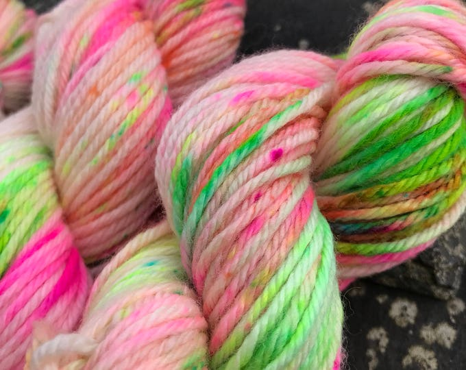 50g 100% Superwash Merino DK double knit yarn, hand dyed in Scotland, neon peony pink green speckle variegated