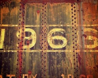 Urban Decay, 1966, Number Photo, Train Decor, Train Wall Art, Industrial Decor, Masculine Art