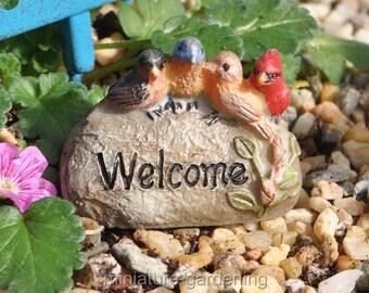 Welcome Rock for Miniature Garden, Fairy Garden
